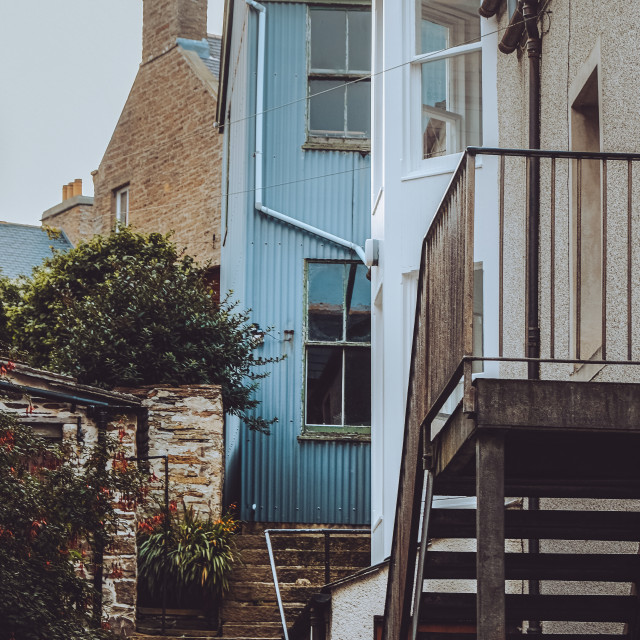 """""""Tin House in Stromness"""" stock image"""