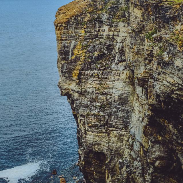 """Cliffs near Swannay"" stock image"