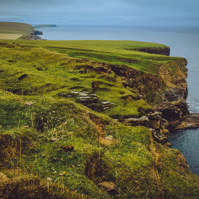 """Looking along the Birsay coast towards the Brough of Birsay"" stock image"