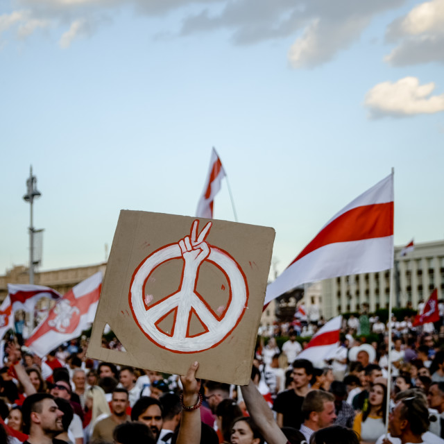 """Person holds peace sign banner at protest"" stock image"