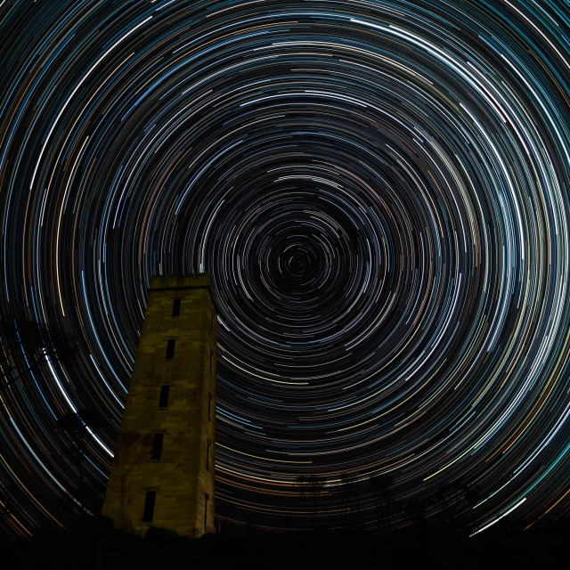 """""""Boyds Tower and star trails"""" stock image"""