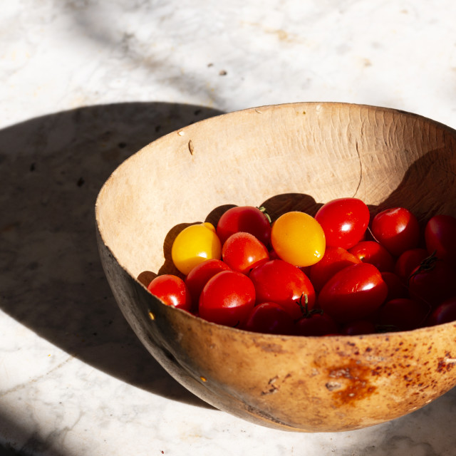 """Cherry tomatoes in a bowl"" stock image"