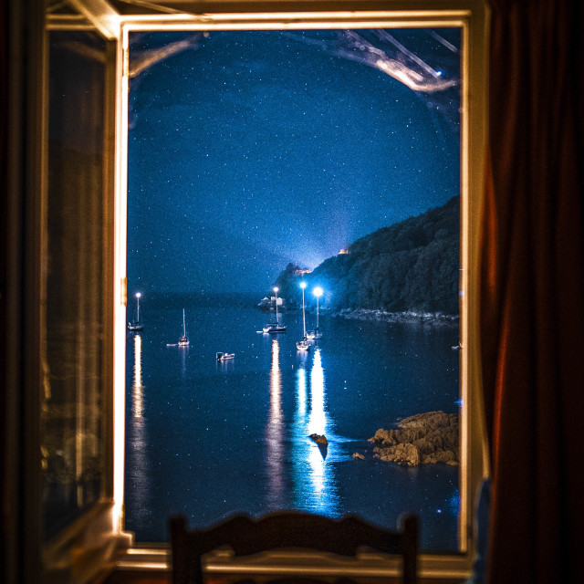 """""""A room with a view by night."""" stock image"""