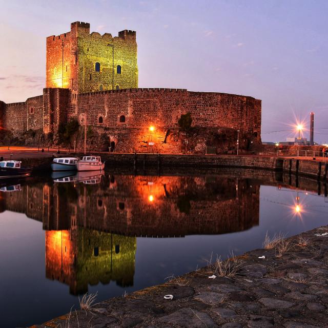 """Carrickfergus Castle at sunset."" stock image"