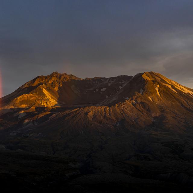 """Mount St Helens Sunset Rainbow"" stock image"