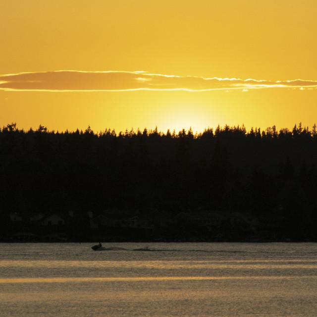"""Lake Sammamish Sunset Skyline Near Seattle"" stock image"