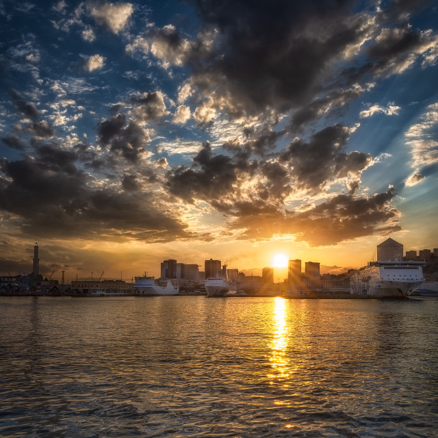 """""""Sunset on the Port of Genoa"""" stock image"""