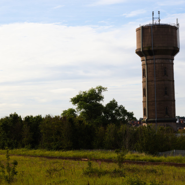 """""""Chapman's Pond water tower in Cleethorpes"""" stock image"""