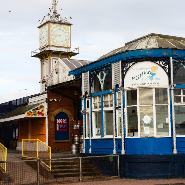 """Cleethorpes Railway Station Clock Tower"" stock image"