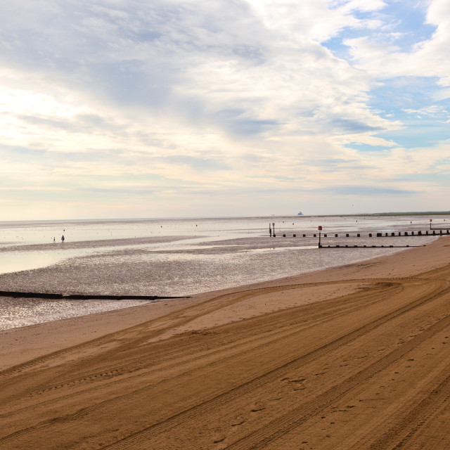 """Looking along Cleethorpes beach"" stock image"