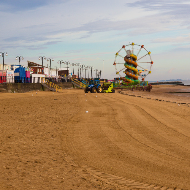 """Cleethorpes beach looking towards the small funfair"" stock image"