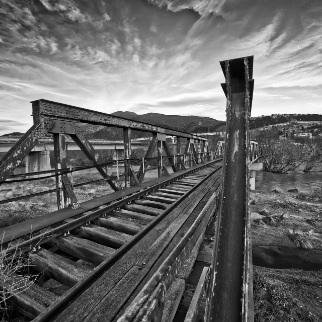 """Old railway bridge over Strymonas River near lake Kerkini, Greece"" stock image"