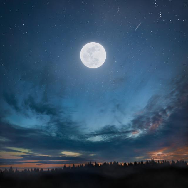 """""""Full moon on sunset"""" stock image"""