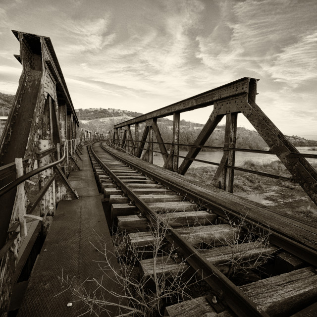 """An old railway bridge over Strymonas river near Kerkini lake in Greece"" stock image"