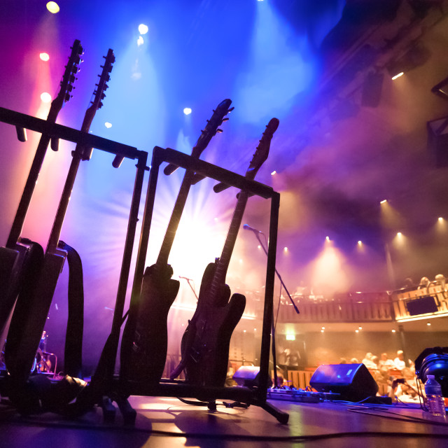 """electric guitars on stage"" stock image"