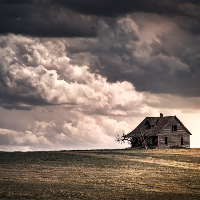 """Old Abandoned House on the Hill"" stock image"