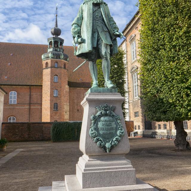 """The statue of Chancellor Peder Griffenfeld in Copenhagen, Denmar"" stock image"
