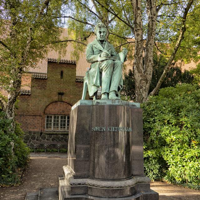 """""""Bronze statue of philospher Soren Kierkegaard in Copenhagen, Den"""" stock image"""