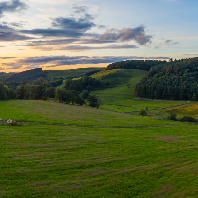 """Panorama Sunset In Rural Scotland"" stock image"