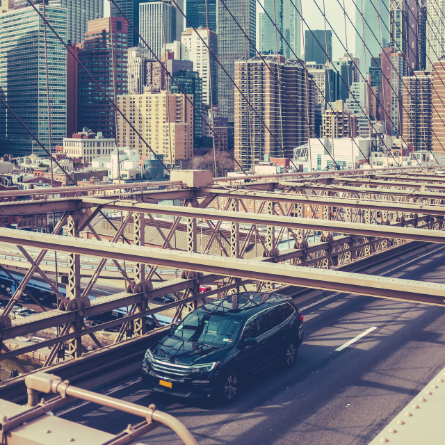 """Traffic On Brooklyn Bridge, NYC"" stock image"