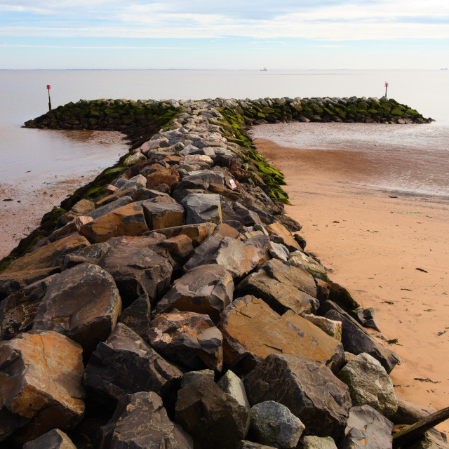 """Sea defence boulders"" stock image"