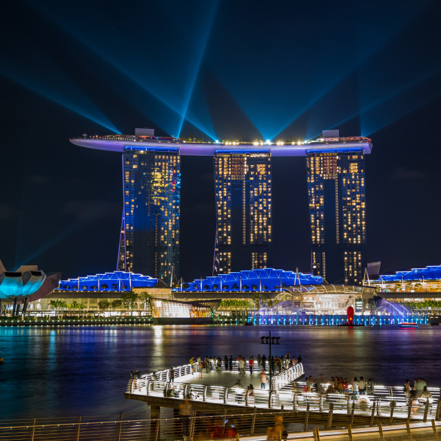 """""""Spectra Light and Water Show Marina Bay Sand Casino Hotel Downto"""" stock image"""
