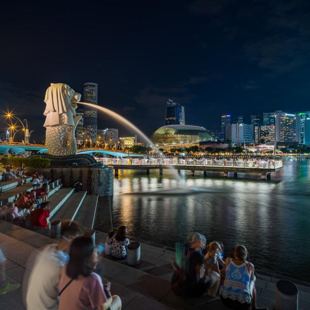 """Singapore Merlion Park downtown Singapore business district"" stock image"