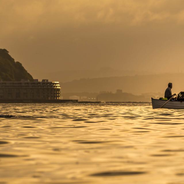 """""""Sunrise from Cawsand, Cornwall UK."""" stock image"""