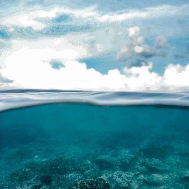 """Below the waves off Nusa Penida, Indonesia"" stock image"