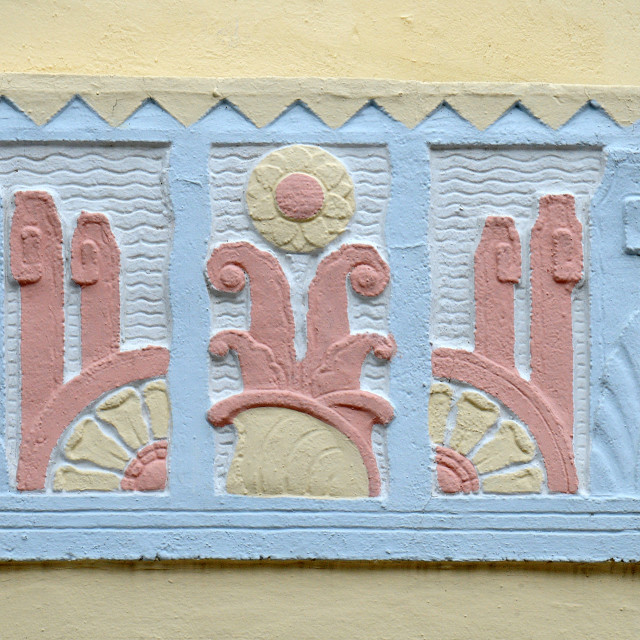 """Art Deco Relief Sculpture, South Beach, Miami"" stock image"