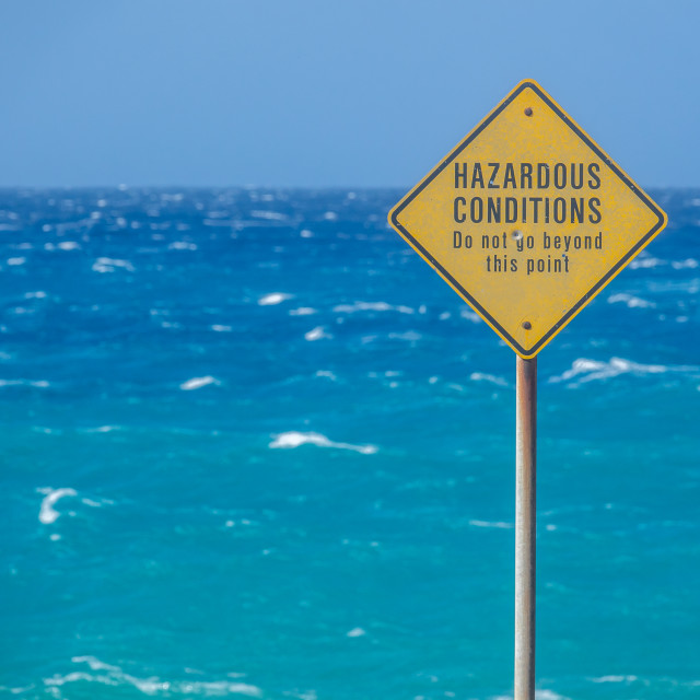 """Sign For Hazardous Ocean Conditions"" stock image"