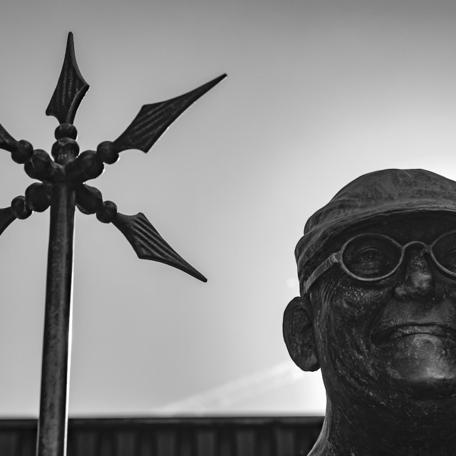 """""""Statue of Fred Dibnah in Bolton, Greater Manchester"""" stock image"""