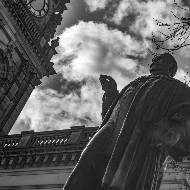 """Statue of Benjamin Alfred Dobson in Black & White"" stock image"