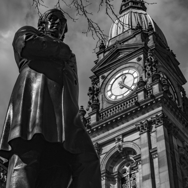 """Statue of Samuel Taylor Chadwick Statue in Black & White"" stock image"