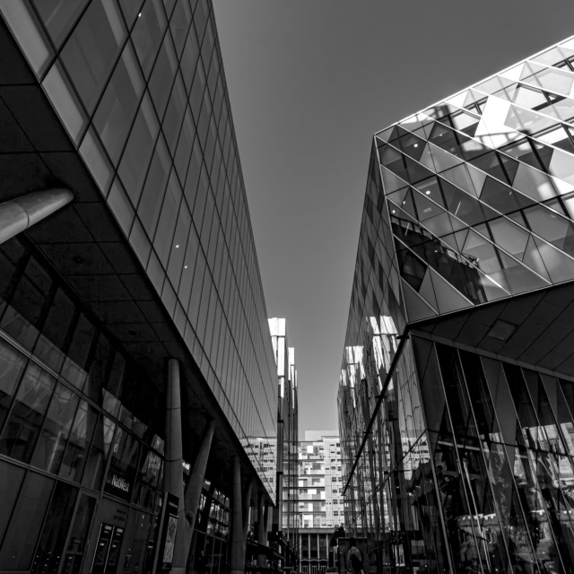 """Spinningfields Walkway and Architecture in Black & White"" stock image"