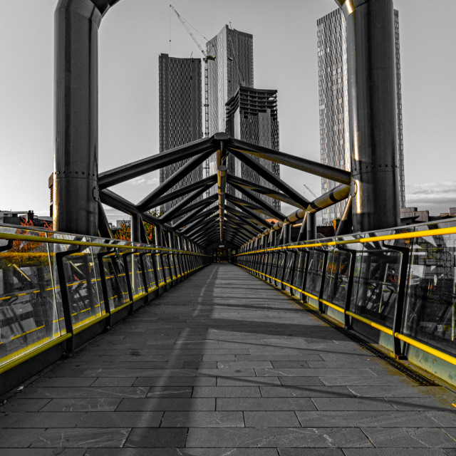"""Geometrical Bridge Leading From Deansgate Train Station"" stock image"
