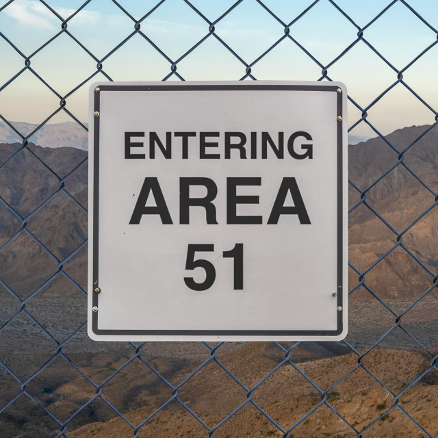 """Entering Area 51 Sign"" stock image"