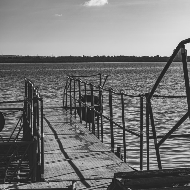 """Small Fishing Dock at A Filipino Ferry Port in Black & White"" stock image"