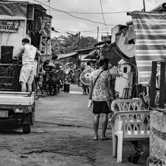 """A Local Market in Cebu City, Philippines - in Black & White"" stock image"
