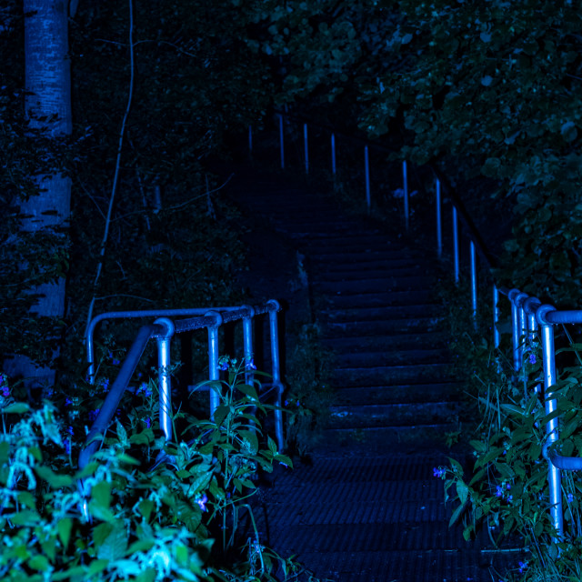 """Meaning Project - Abstract Art - Blue Stairway - 7 Acres, Bolton, UK"" stock image"