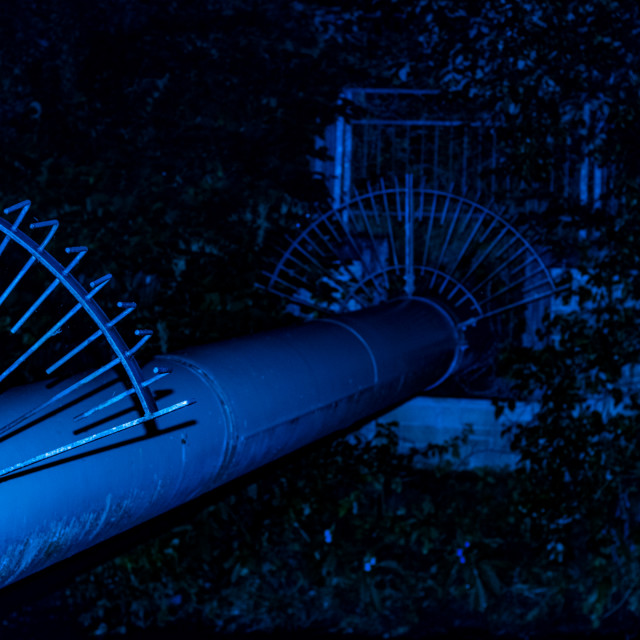 """Meaning Project - Abstract Art - Blue Pipeline - 7 Acres, Bolton, UK"" stock image"