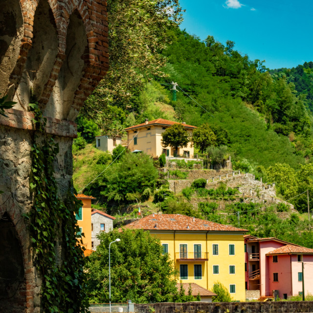 """View From Across The River Lima in Bagni Di Lucca, Tuscany, Italy"" stock image"