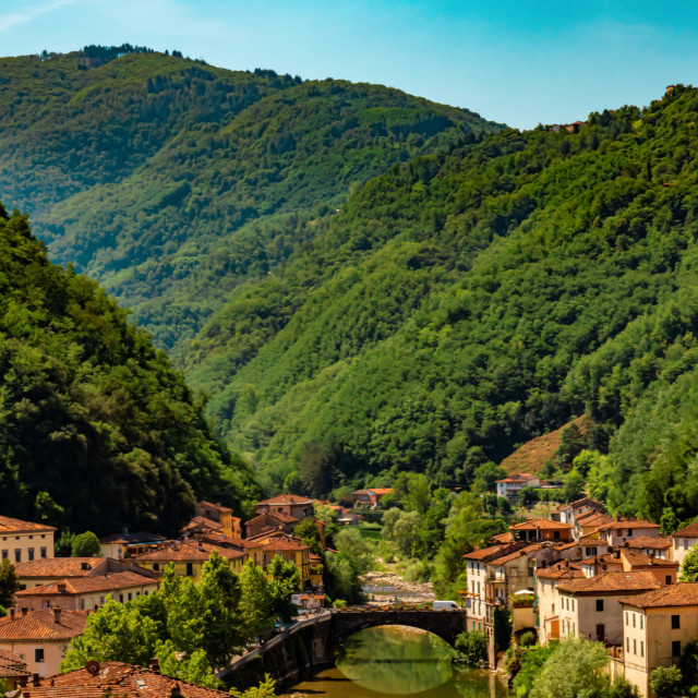 """Tuscan Hills Surrounding The Small Village of Bagni Di Lucca - Tuscany, Italy"" stock image"