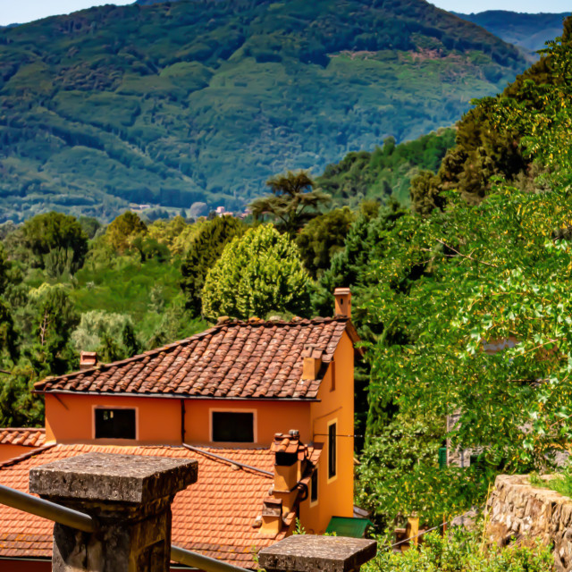 """Walkway Down to Bagni Di Lucca With a View of The Tuscan Hills"" stock image"