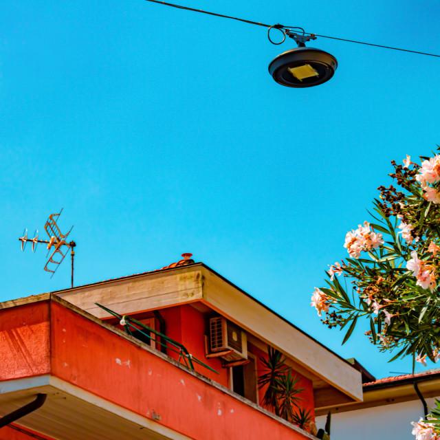 """Colourful Italian Building & Flora In Viareggio - Tuscany, Italy"" stock image"
