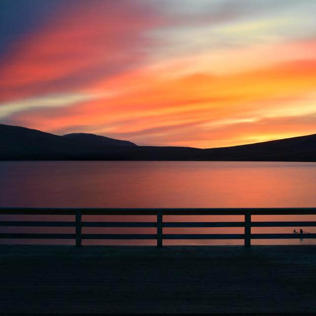 """""""Sunset at Spelga Dam"""" stock image"""
