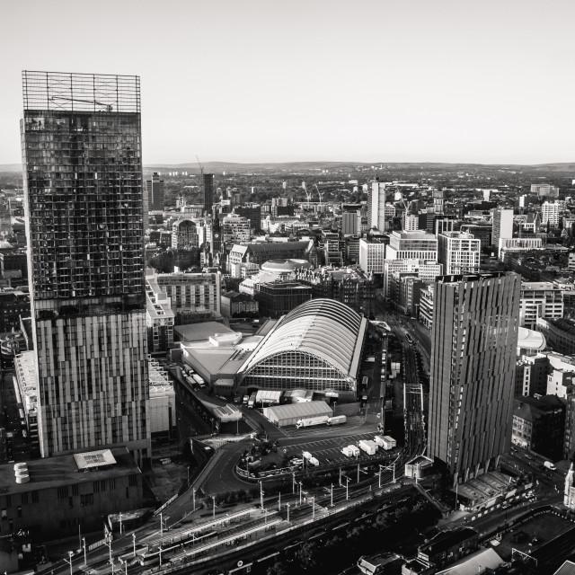 """Manchester Skyline B&W"" stock image"