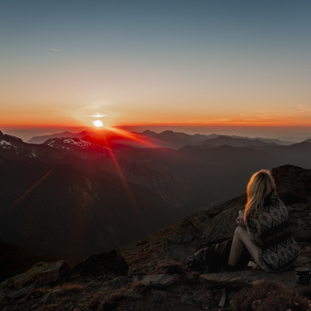 """Mount Rainier Sunset Looking Over Olympic Peninsula"" stock image"