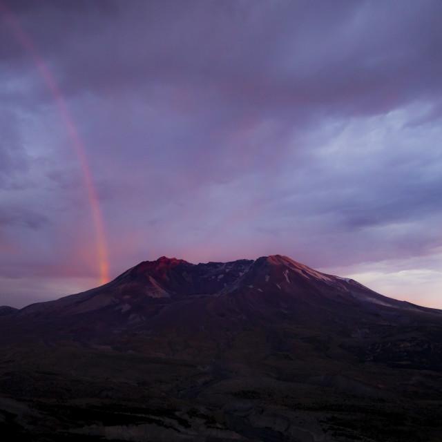 """Mount St Helens Red Rainbow Sunset"" stock image"