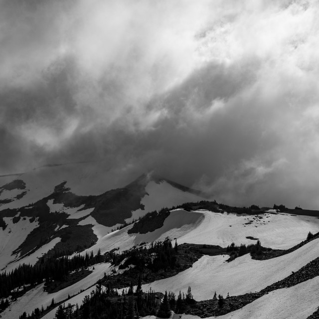 """""""Mount Rainier Northern Cloudscape Black and White"""" stock image"""